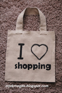 eco eko materiałowa torba ręcznie malowana I love shopping