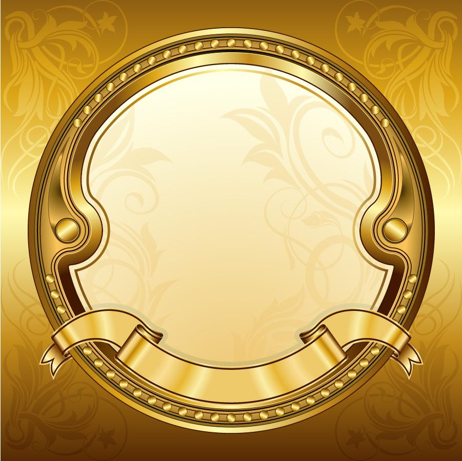 金色に輝くリボンフレーム gold ribbon frame イラスト素材3