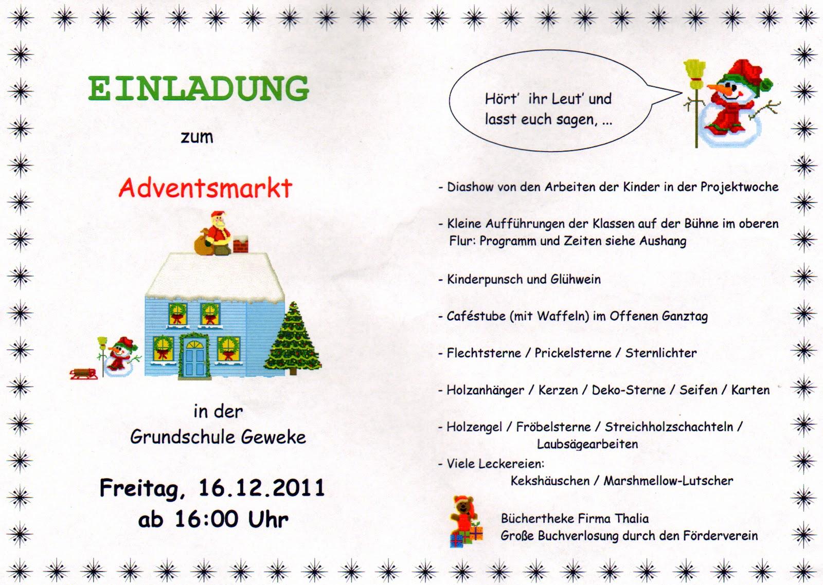 grundschule geweke: 04.12.11 - 11.12.11, Einladung