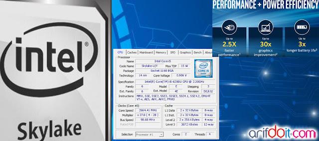 Detail CPU-Z Intel Skylake i5 6200U