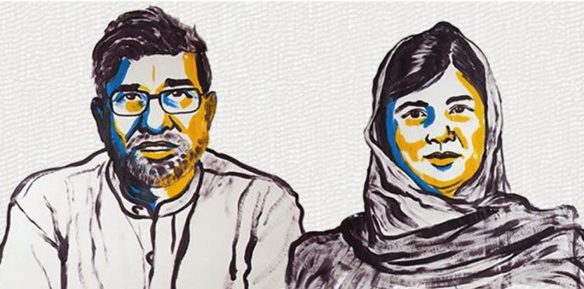 Kailash Satyarthi of India & Malala Yousufzay of Pakistan share the Nobel Peace prize 2014