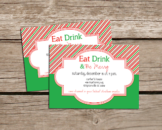 Eat Drink and Be Merry Holiday Invitations
