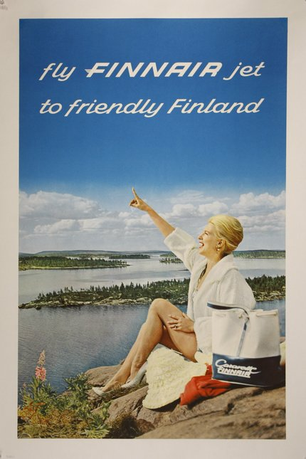 classic posters, free download, graphic design, national park, retro prints, travel, travel posters, vintage, vintage posters, Fly Finnair Jet to Friendly Finland - Vintage Finland Travel Poster