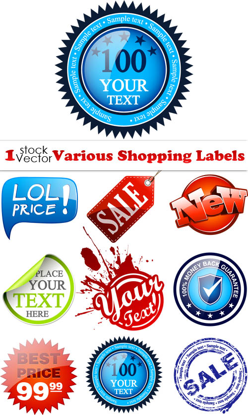 Various Shopping Labels Vector - Laku.com belanja online