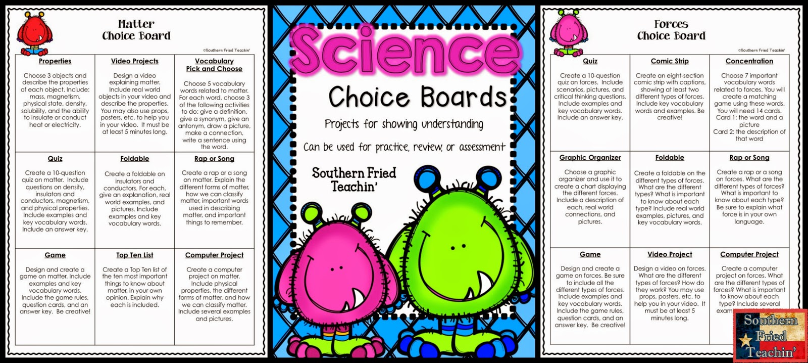 Science Choice Boards for all science topics - ready to go
