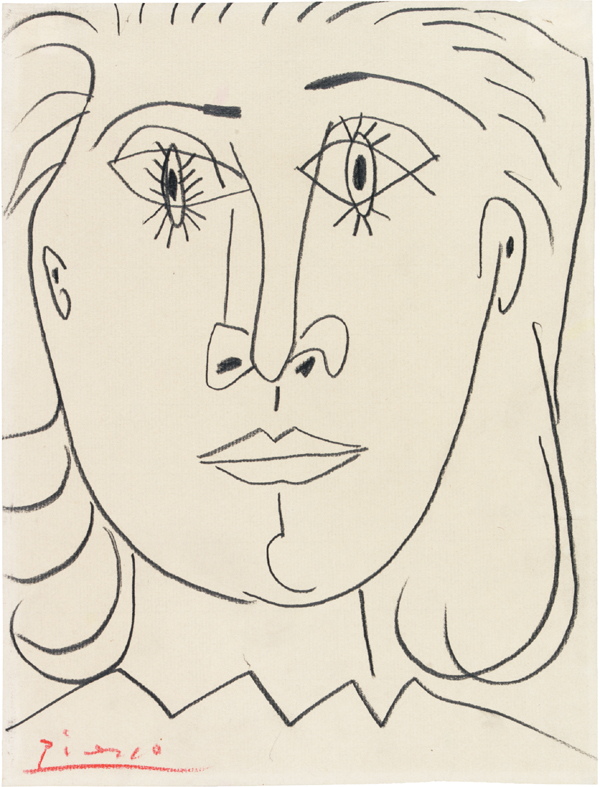 Picasso Line Drawing Face : An invitation to gaze head of a saint dora