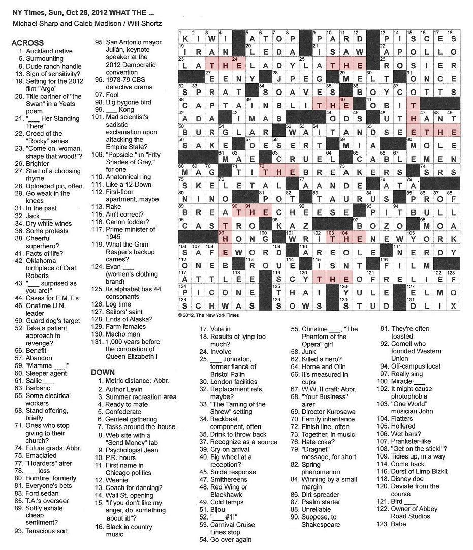 10.28.12 u2014 What THE .  sc 1 st  The New York Times Crossword in Gothic & The New York Times Crossword in Gothic: October 2012 25forcollege.com