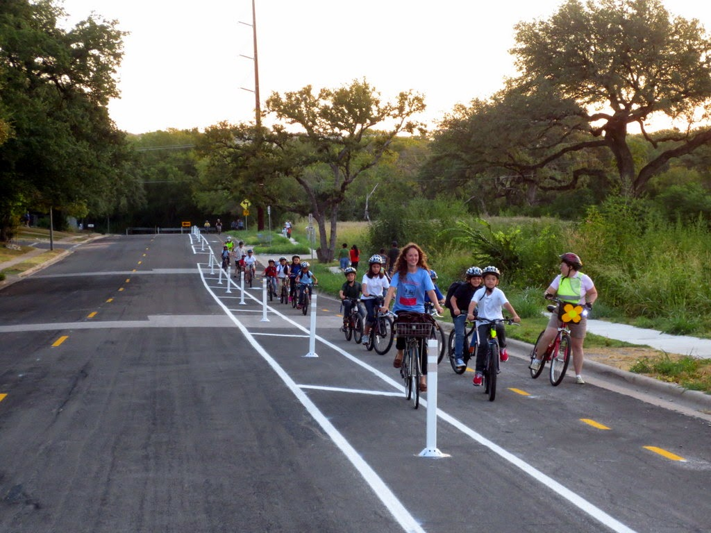 bike train to Hart Elementary school in Austin