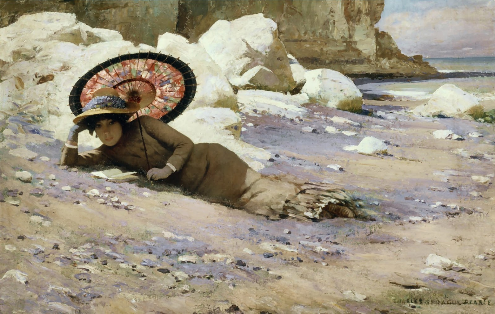 Charles  Sprague  Pearce  reading  by  the  shore