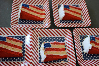 American Flag Cake Slices