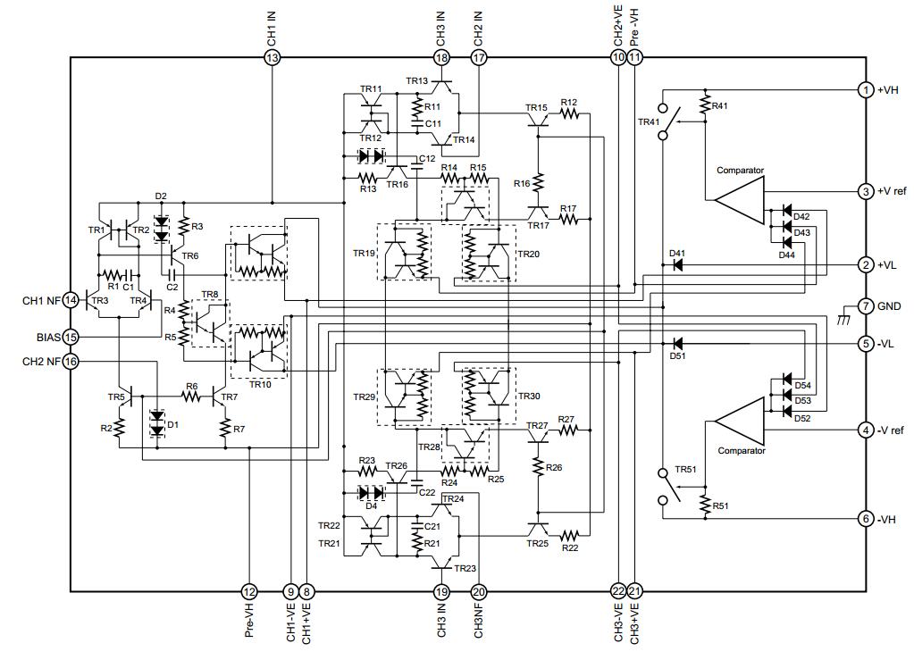 3 x 90 Watt Amplifier circuit diagram