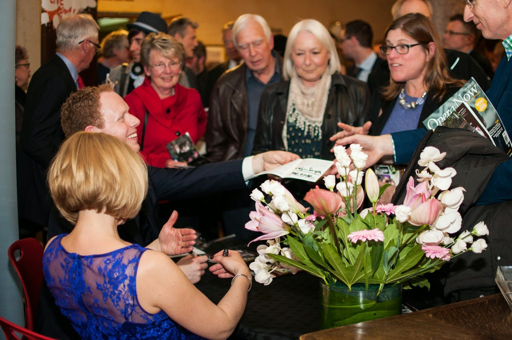 Joseph MIddleton and Carolyn Sampson signing discs after the concert, Rhinegold Live at Conway Hall - © Ceri Wood Photography