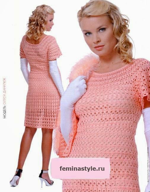 Vestido rosa tejido al crochet y horquilla