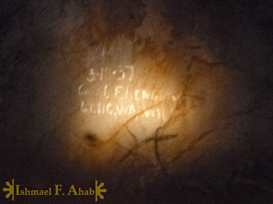 Wrtings on the wall of Puerto Princesa Underground River dated 1937