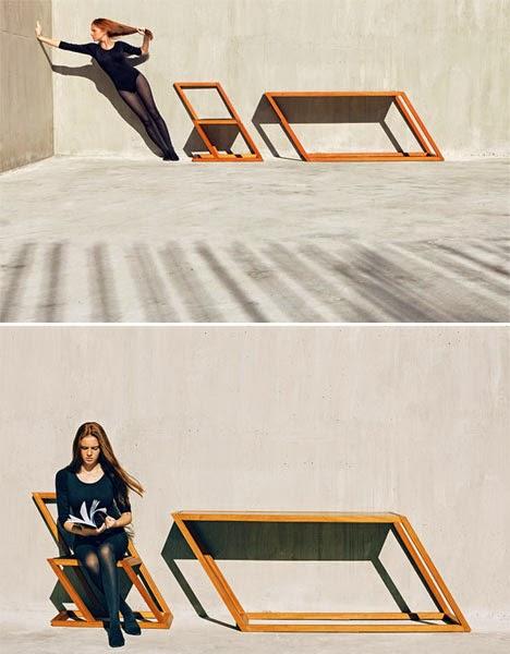 Gambar Meja Kursi Unik Minimalis Bergaya Vertigo Oleh XYZ Integrated Architecture 2