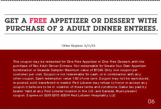 Printable discount coupons for red lobster