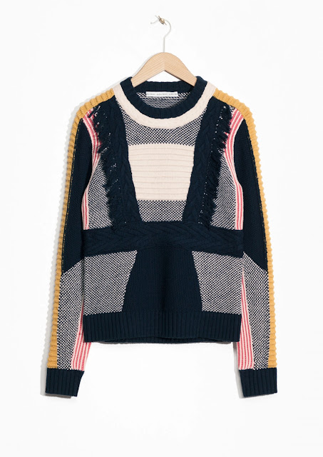 stories colour block jumper, textured jumper, tassel colour block jumper,