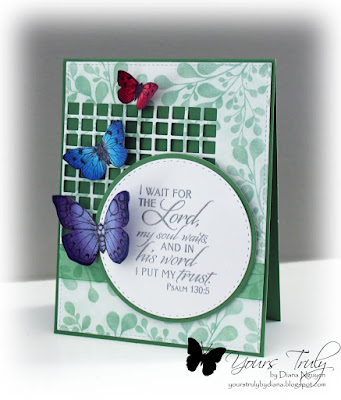 Diana Nguyen, Verve, Scripture, card, Hero Arts, butterflies,  Impression Obsession, Square Cutout border