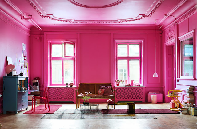 hot pink living room classic architecture crown molding decorative panel windows
