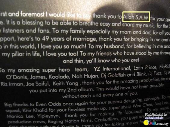 Kulit Album Mizz Nina Tertulis Perkataan 'Allah S.A.W'?