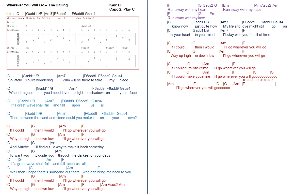 Talkingchord the calling wherever you will go chords chords hexwebz Images