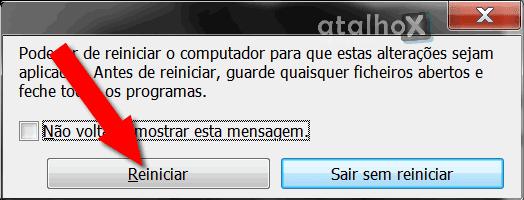 Reinicie o computador