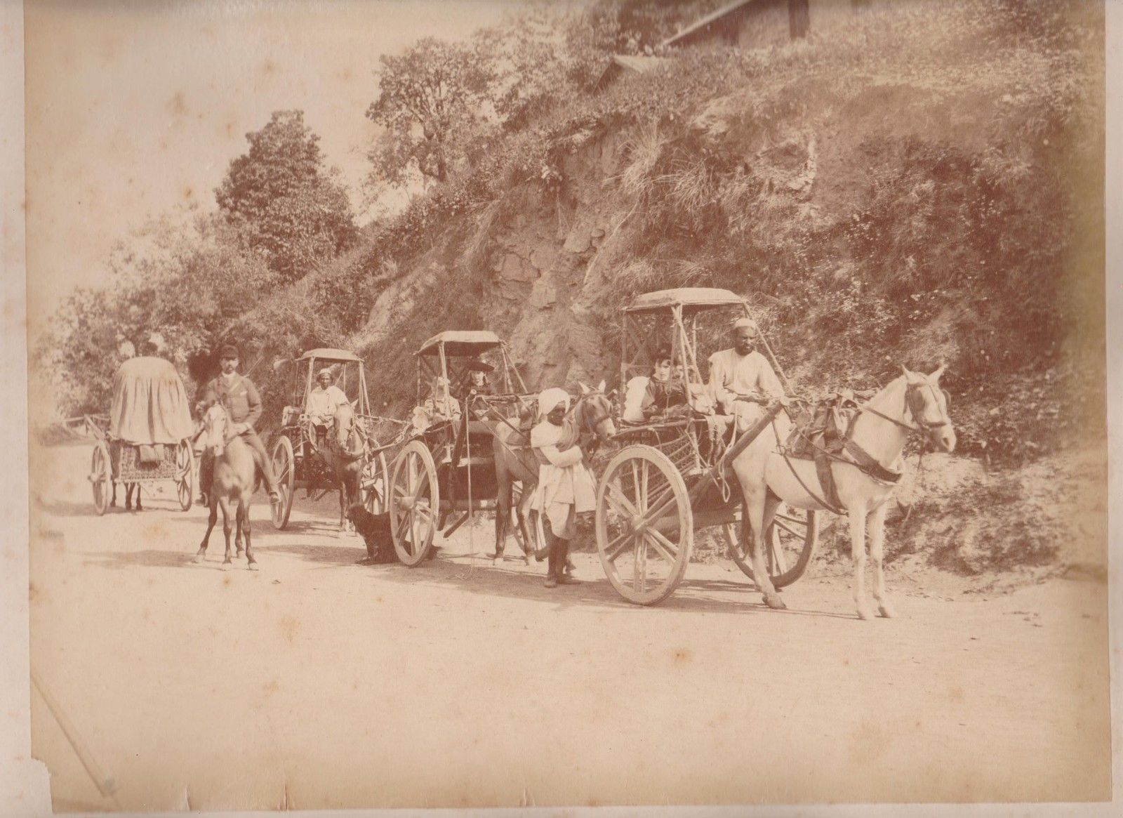 Horse Carts on a Mountain Road - India c1870's