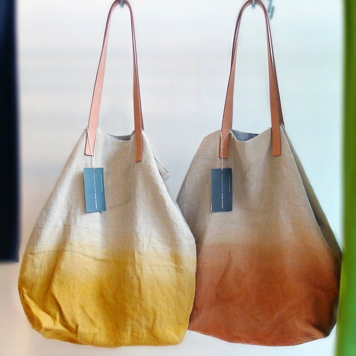 Earth Friendly! MARGARETE HÄUSLER Ochre & Tangerine Tote bags made from linen with color gradient.