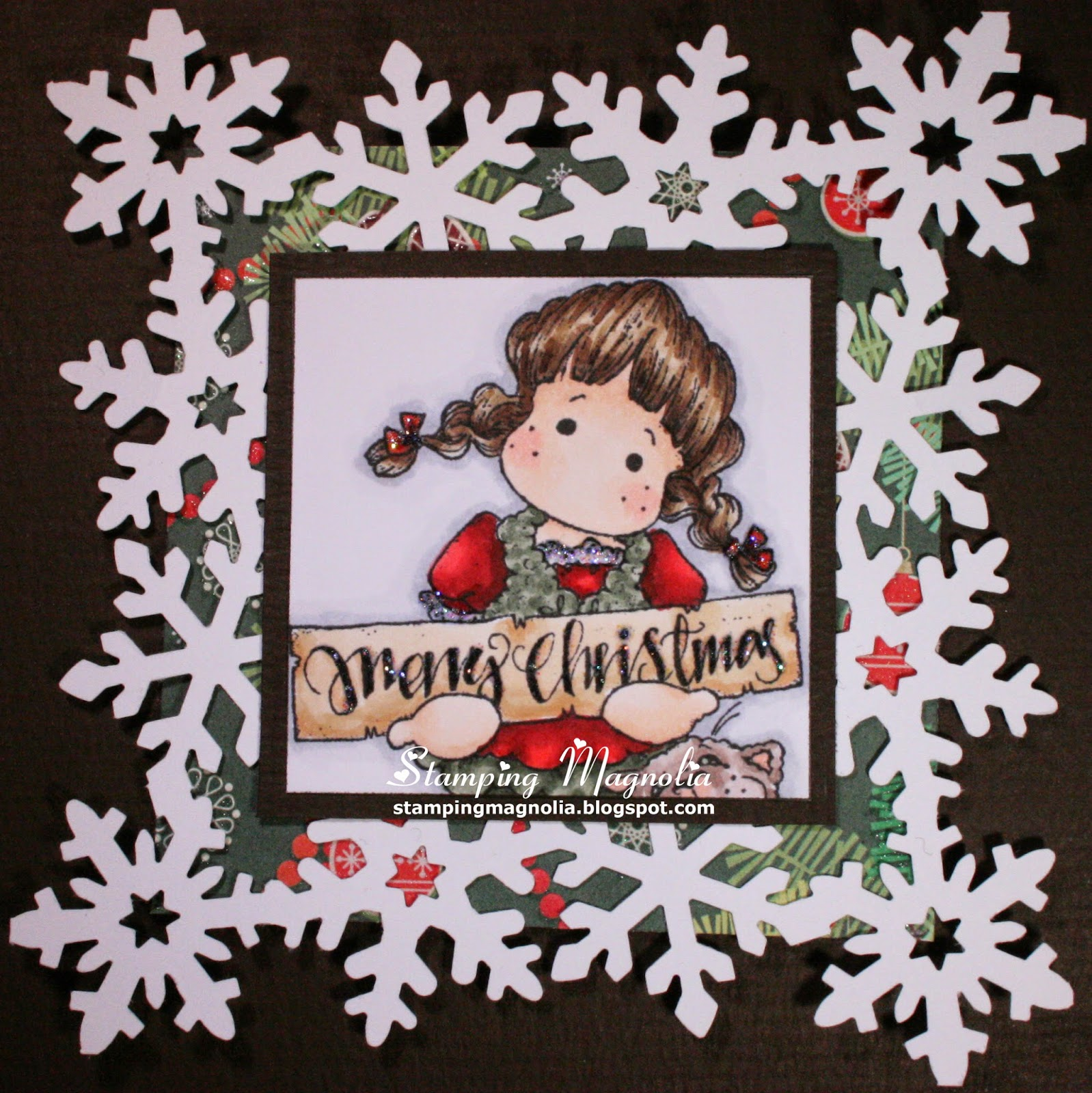Coloring Magnolia Stamp Little Merry Christmas Collection - Christmas Tilda With Cat