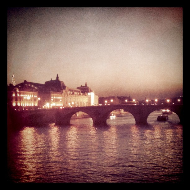 view of paris by night, pont neuf seen from pont des arts, beautiful lights