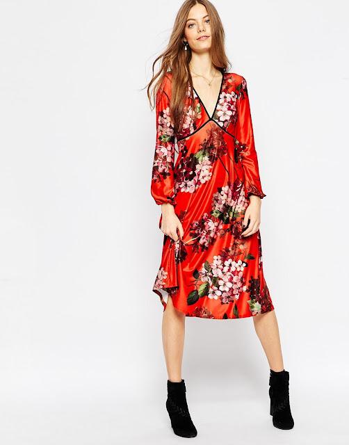 red satin flower dress,