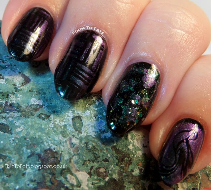 ILNP Sirene stamped over black MoYou Nails