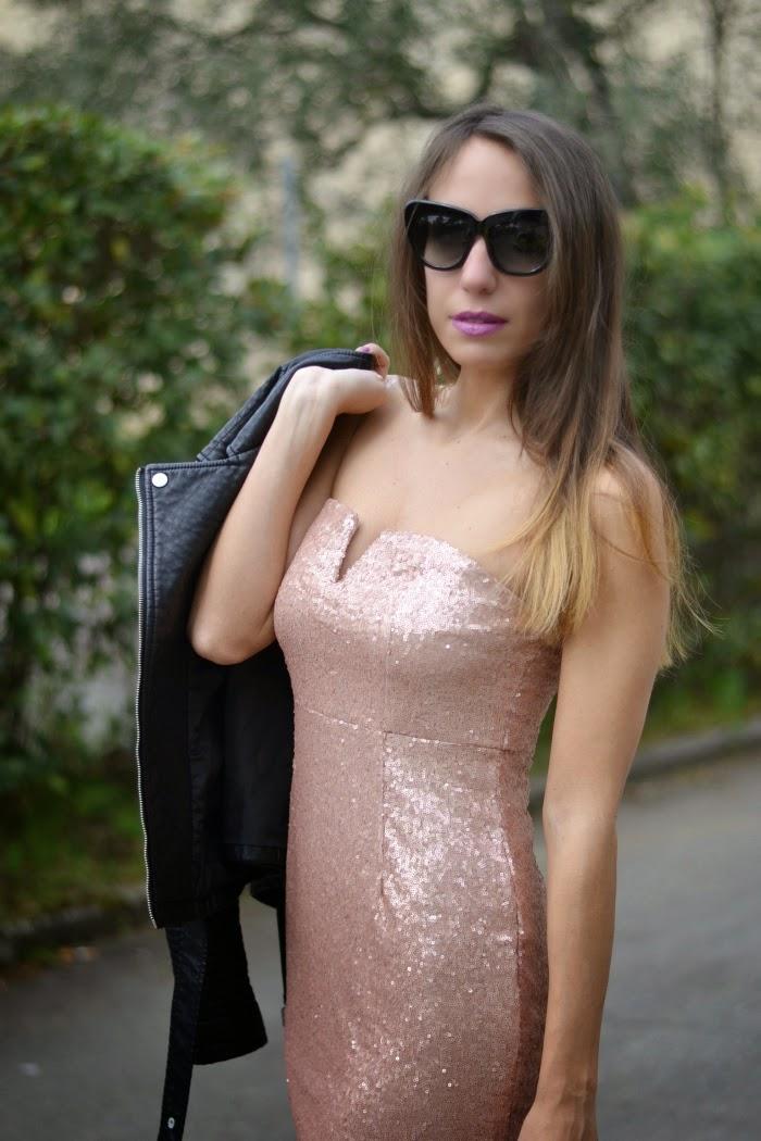 abito paillettes rosa cipria