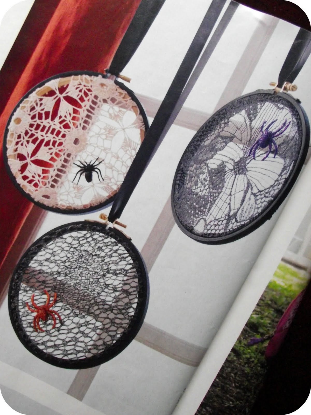 Halloween Lace embroidery hoop decorations