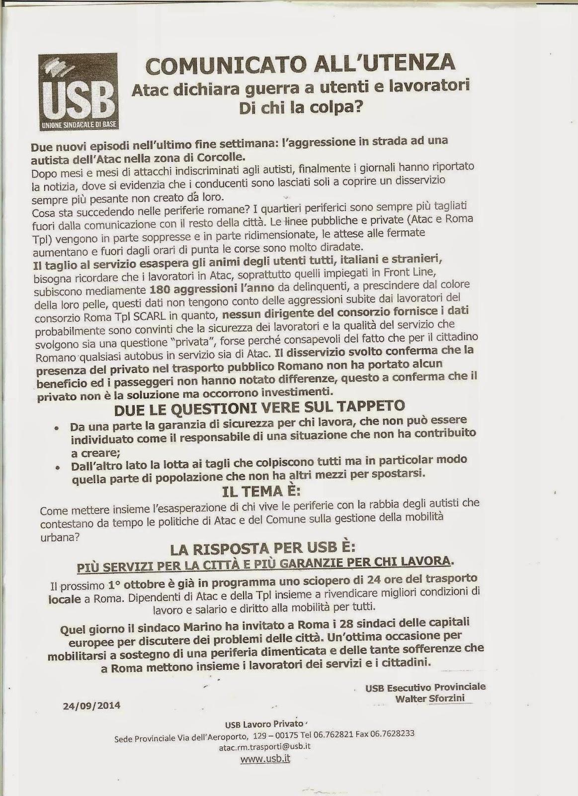 Lettera del Sindacato USB per lo sciopero del 1 ottobre