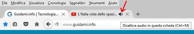 Pulsante per disattivare audio scheda Firefox