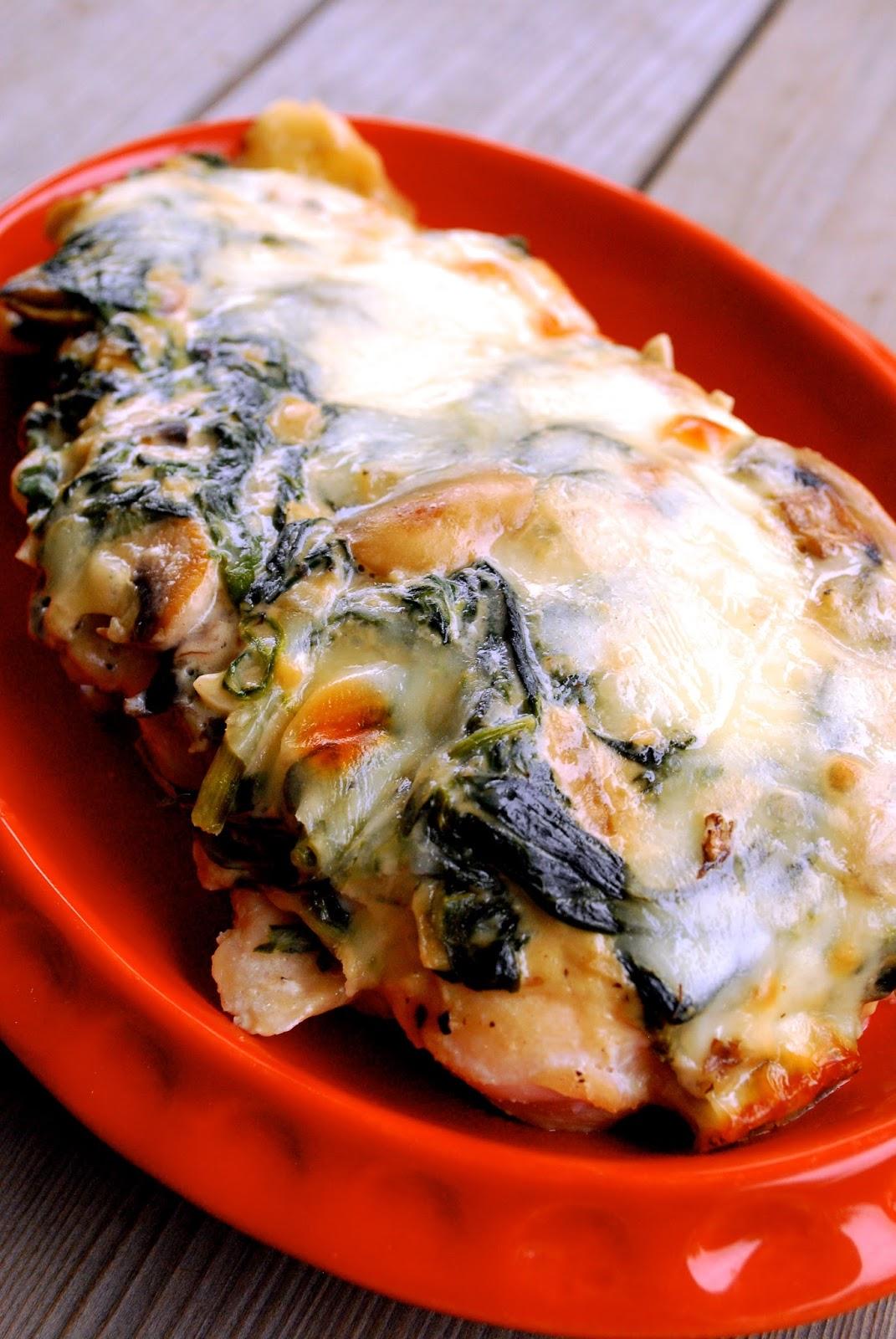Cheesy Spinach Mushroom Chicken Bake