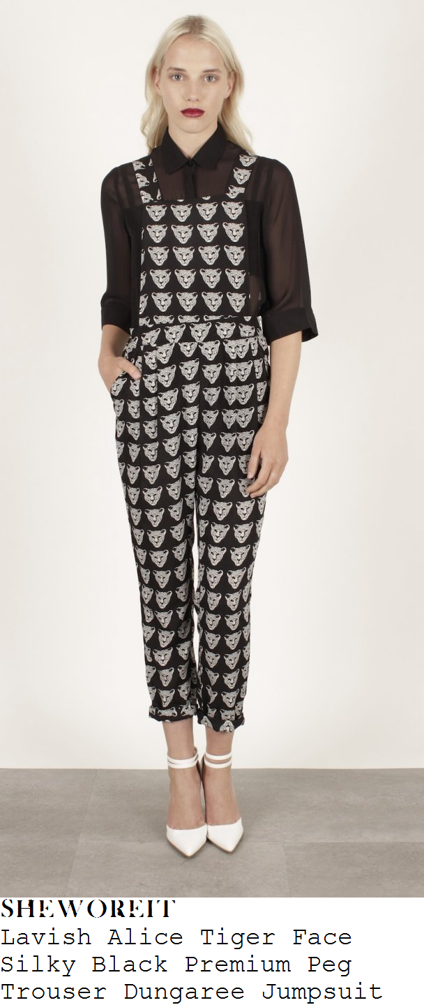 ashley-roberts-black-and-white-leopard-tiger-face-dungaree-jumpsuit