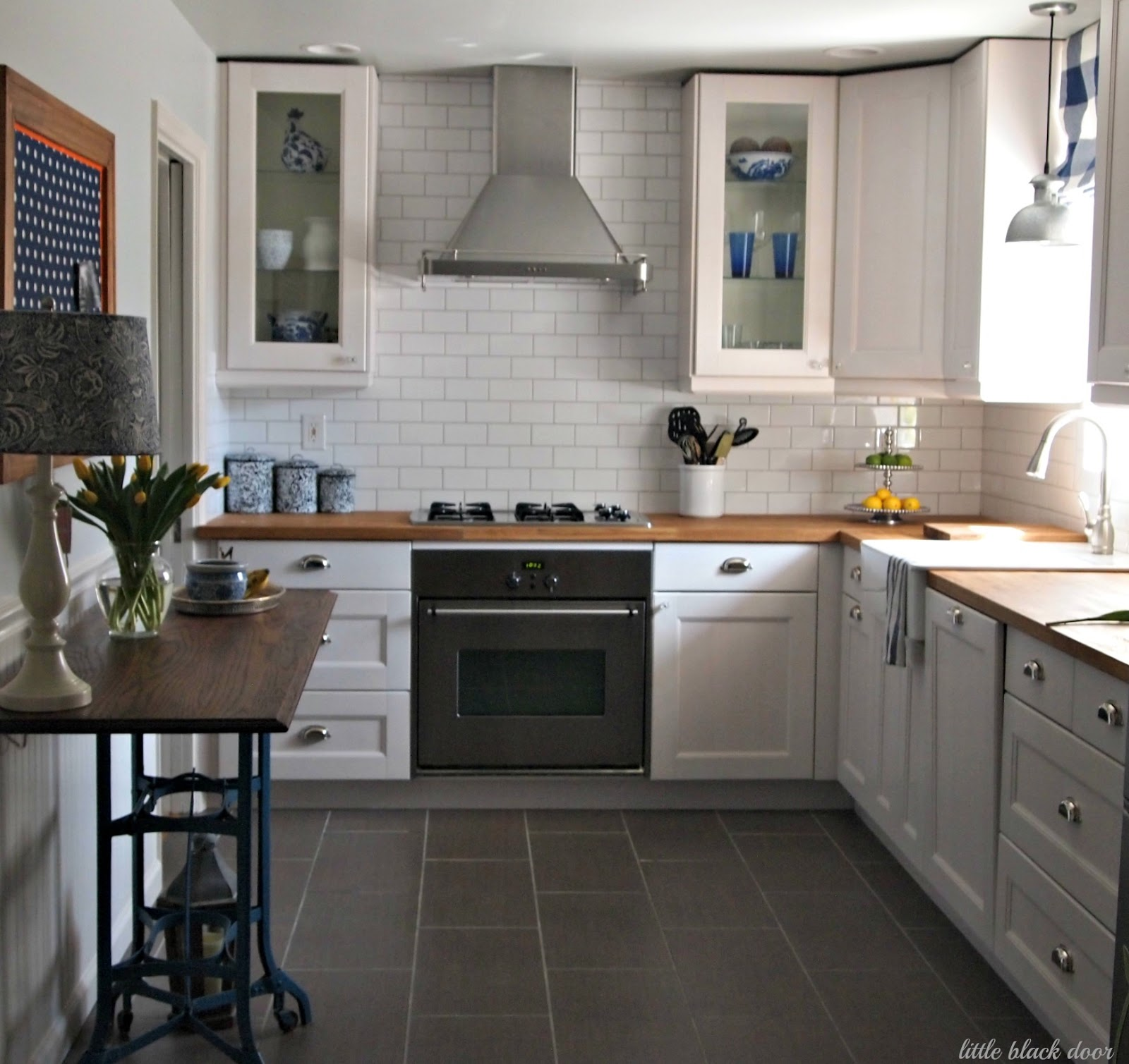 Little black door before and after farmhouse kitchen Kitchen layouts