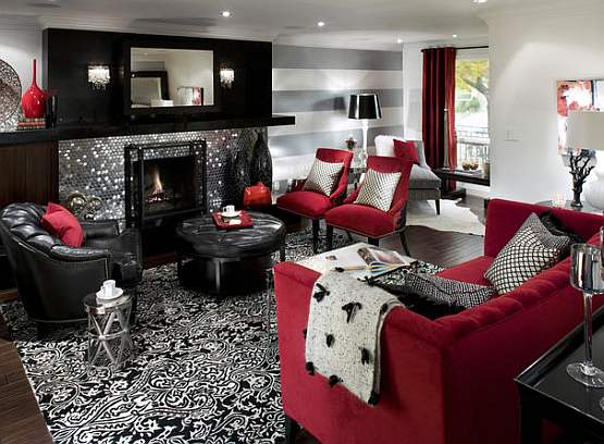 Living room design red living room colors for Red room design ideas