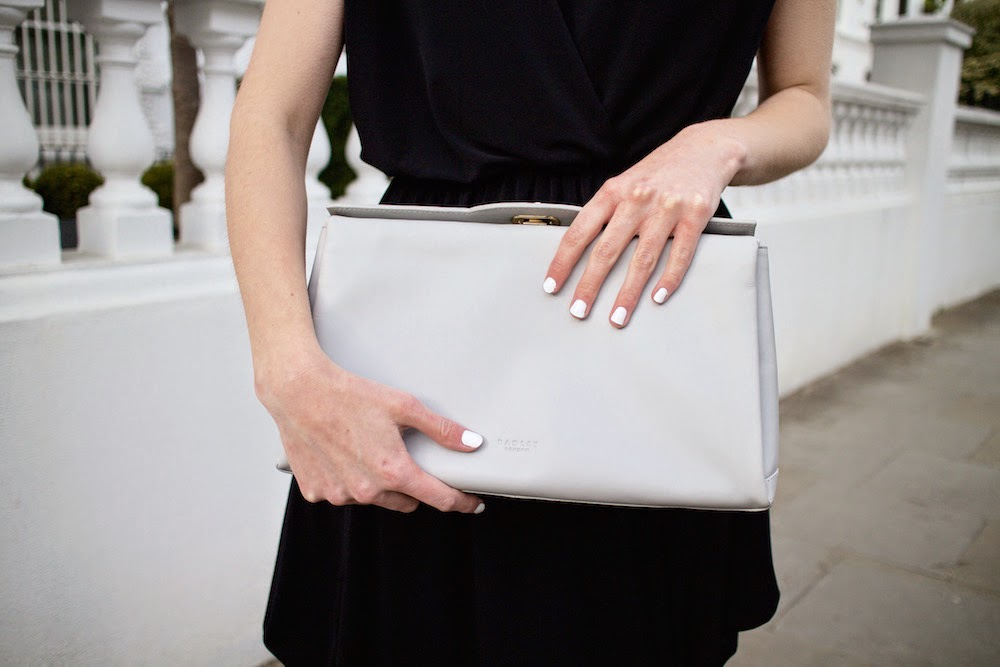 radley soft grey mount street clutch bag ss15