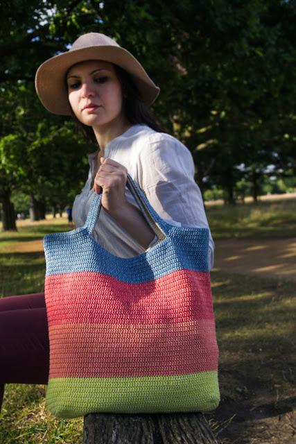 Denim. Reversible crochet bag by Airali design