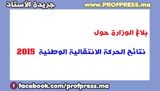 بلاغ الوزارة حول نتائج الحركة الانتقالية الوطنية لسنة 2015
