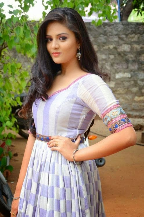 Sri Mukhi Beautiful Pictures in Long Dress at Dhana Lakshmi Talupu Tadithe Press Meet