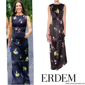 Crown Princess Mary Style ERDEM Jane Silk Maxi Dress