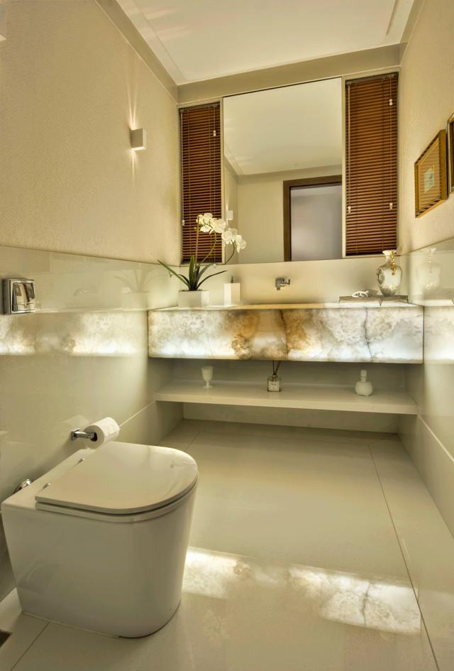 decoracao bancada lavabo : decoracao bancada lavabo:Bancadas de banheiros/lavabos com mármores e ônix iluminados – veja