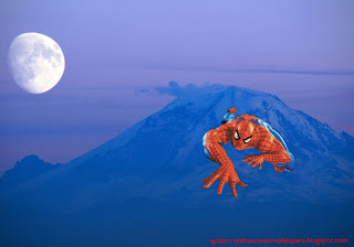 Spiderman desktop Wallpaper Spiderman Crawling and Climbing at Ascent Moon Blue Mountain