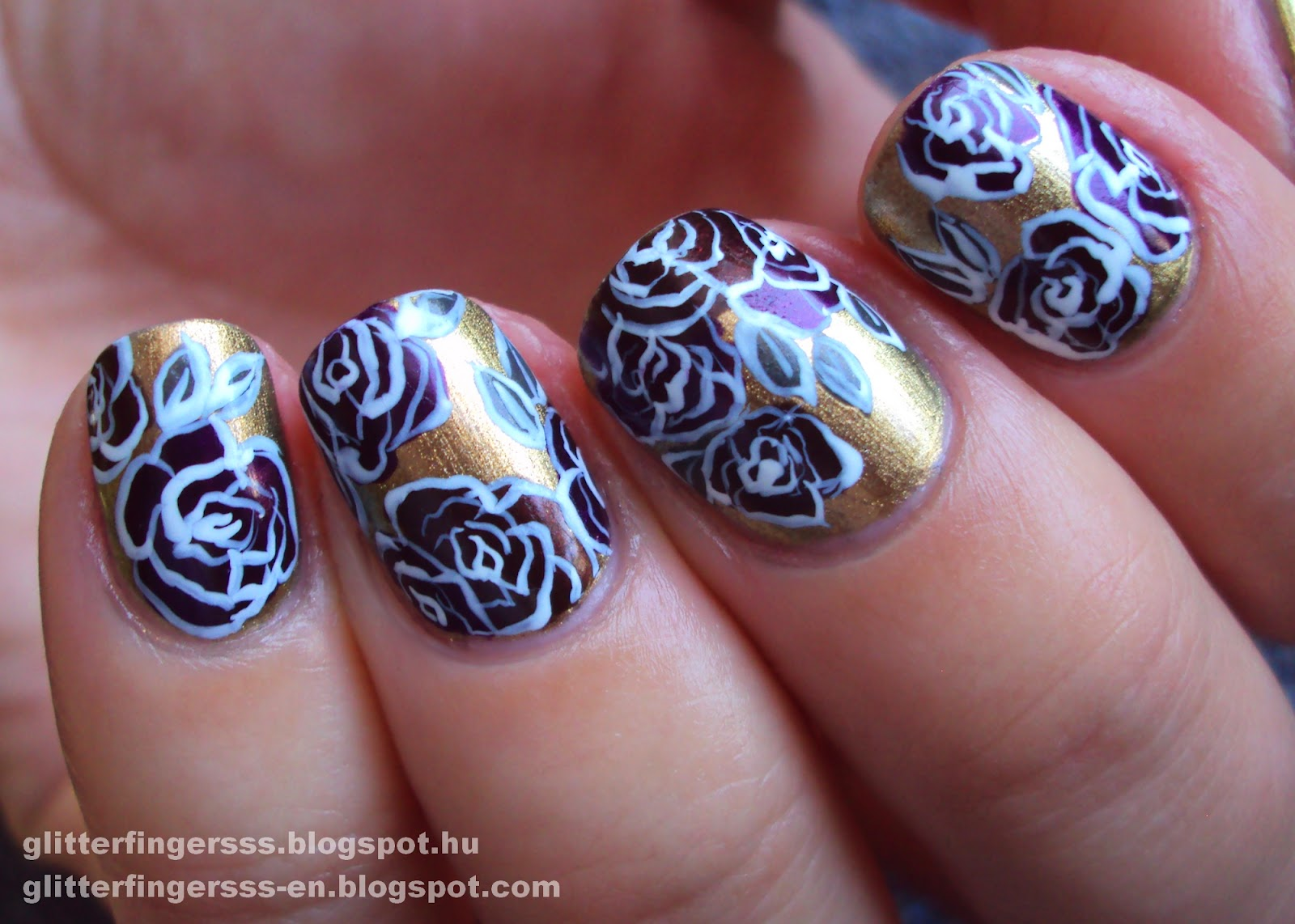 Nail Art Baroque Roses Glitterfingersss In English