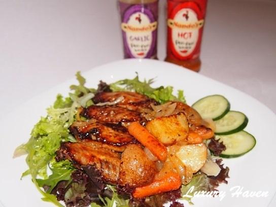nandos peri-peri baked wings with vegetables