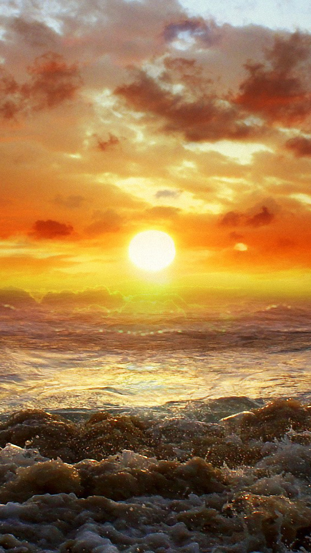 Free Download Ocean Beach Sunset HD iPhone 5 Wallpapers ...